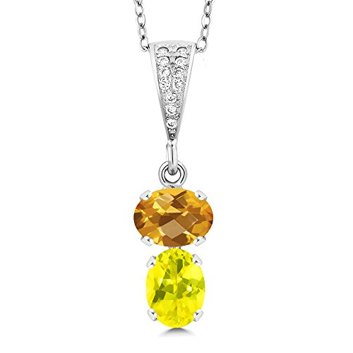- Gem Stone King 2.62 Ct Oval Checkerboard Yellow Citrine Canary Mystic Topaz 925 Silver Pendant