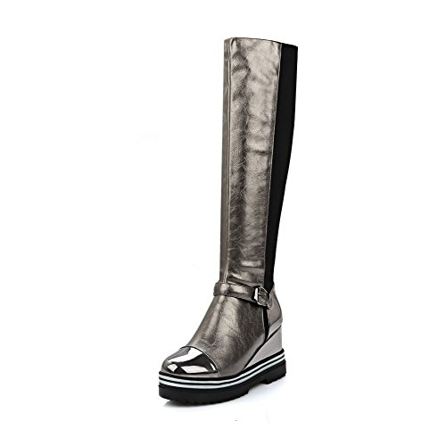AllhqFashion Womens Solid Blend Materials High-Heels Pull-on Round Closed Toe Boots Silver pgEWIp