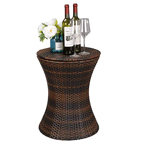 HomGarden Cool Bar Rattan Style Outdoor Patio Cooler Table with Ice Bucket Cocktail Coffee Cooler Table All in One for Party, Pool, Patio, Deck, Backyard by HomGarden (Image #2)