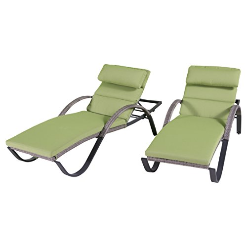 RST Brands Cannes Chaise Lounges with Cushions, Ginkgo Green