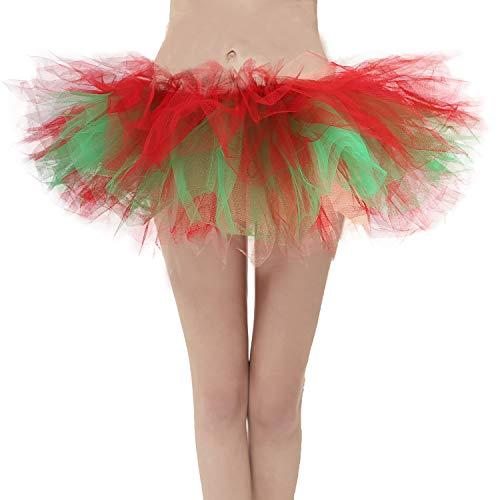Christmas Tutu - Topdress Layered Tulle Tutu Skirts Red Green Xmas Regular Sizing