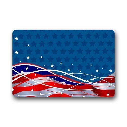 (Fun Qiaoya Simple and Fashion Design Patriotic Background The Stars and The Stripes Vogue Picture Printed Doormat 23.6x15.7 inches/60 x 40cm)