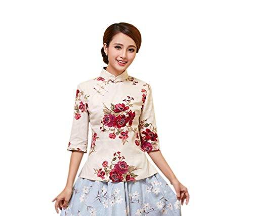 Cheongsam Farbe3 Casual Haute Femme Qualit Chemisiers Chinois Tops Chemisier Modle Elgante breal Longues De Manches Mode Debout Automne Style Fleur Vintage Col Printemps Shirt g11qxpAZ