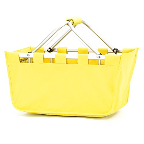 Fashion Print Aluminum Frame Collapsible Design Utility Market Tote Basket (Personalized Solid Yellow)