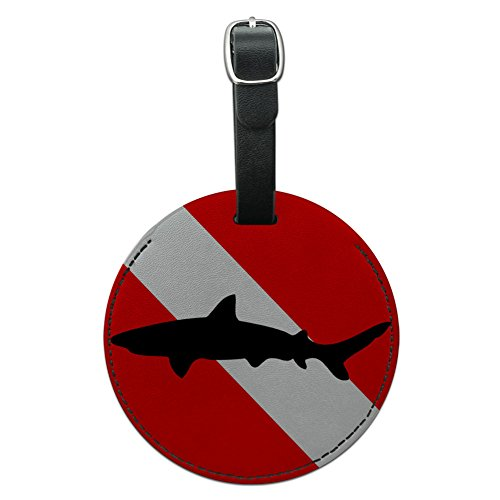 Graphics & More Flag Scuba Diver Dive Shark Round Leather Luggage Id Tag Suitcase, Black ()
