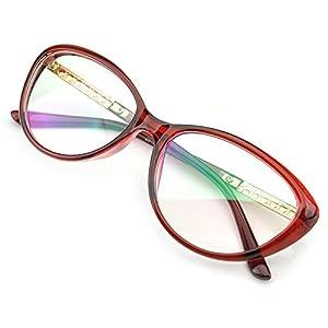 PenSee Womens Oval Cat Eye Retro Eyeglasses Frame Clear Lens Glasses (Red)