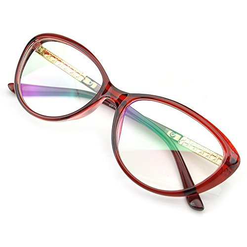 PenSee Womens Oval Cat Eye Retro Eyeglasses Frame Clear Lens Glasses (Red)]()
