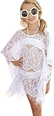 SAYOO 3 pcs Swimwear Little Girls Bikini Top +Bottom+Mesh Lace Cover Up Sets Beach Wear