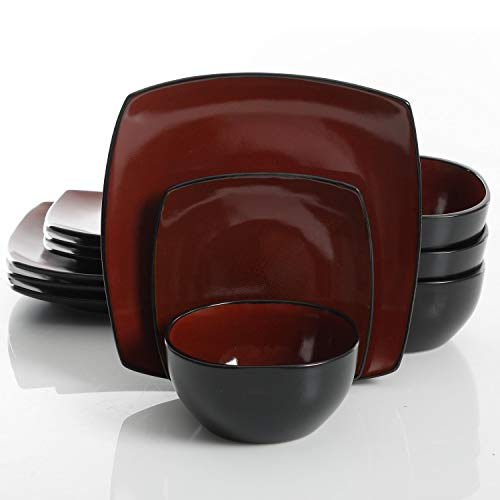 Gibson Elite Soho Lounge 12 Piece Dinnerware Set, Red