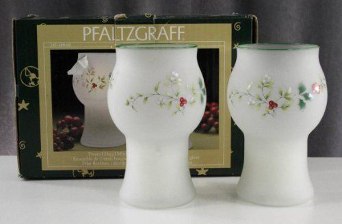 PFALTZGRAFF Winterberry Frosted Decal Mini Floating Pillar Glass Candle (Winter Decal Set)