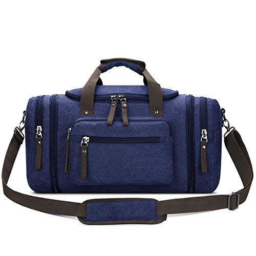 (Toupons Canvas Duffel Bag Travel Bag for Men Overnight Bag Weekender Duffle Bag (Blue))