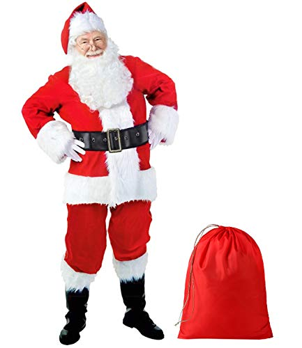 Dafudag Deluxe 10 Pieces Plus Size Santa Suit Set Professional Christmas Santa Claus Costume for Men XXL
