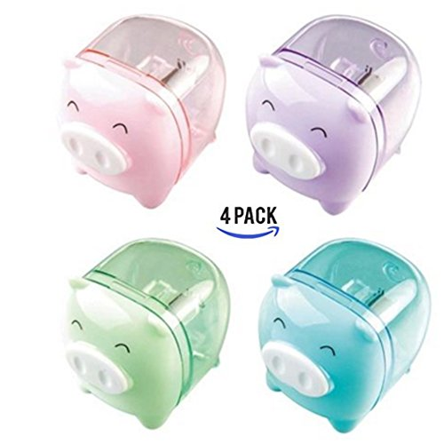 CiCy 4pcs Lovely Cute Cartoon Animal Pig Pencil Sharpeners for Kids Random Color -