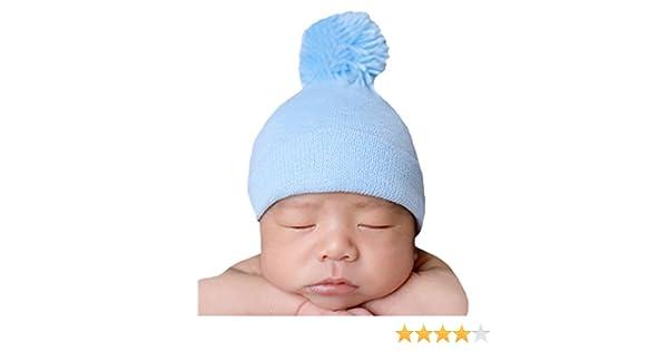 f3cfbd1ca9f Amazon.com  Melondipity s Blue Pom Pom Nursery Beanie for Newborn Boys  Authentic Hospital Grade  Clothing