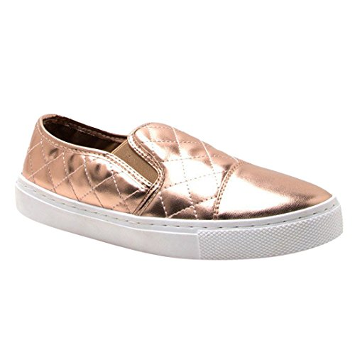 Qupid Fi37 Womens Comfort Slip On Sneakers Trapuntate In Oro Rosa