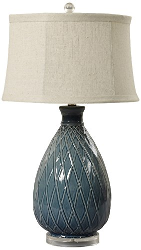 m.r. Lamp & Shade 27.5 in. Basket Weave Ceramic & Acrylic Table Lamp