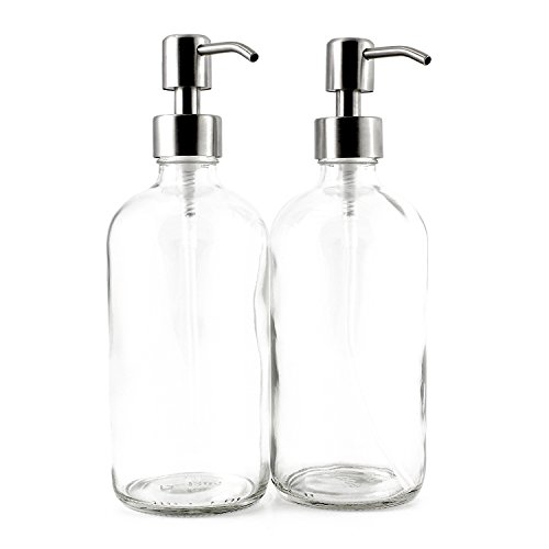 16 Ounce Clear Glass Boston Round Bottles w/ Stainless Steel Pumps (2 pack), Great for Essential Oils, Lotions, Liquid Soaps