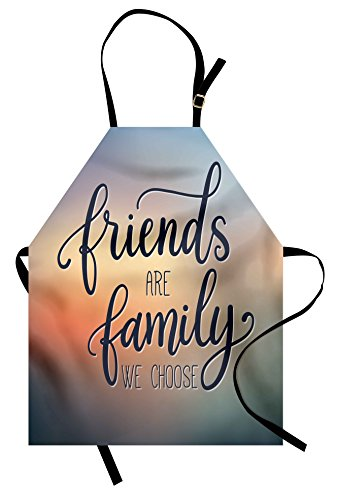 Friends Apron - Ambesonne Family Apron, Friends are Famly We Choose Inspirational Phrase Fashion Print BFF Theme, Unisex Kitchen Bib Apron with Adjustable Neck for Cooking Baking Gardening, Blue Yellow