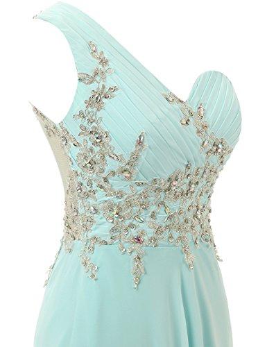 de Hombro de Un Lavanda Dama Gasa Vestido Largo Noche de de Vestido Honor Baile Mujer JAEDEN la Vestido wES117