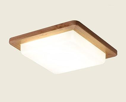 ILQ Lámpara de Techo LED de Madera Maciza nórdica, Pantalla ...