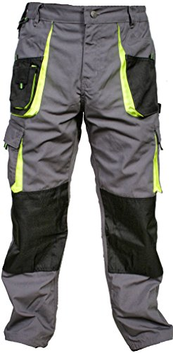 Juicy Trendz Men Work Trouers Heavy Duty Worker Wear Cargo Combat Kneepad Pockets Working Pants Grey