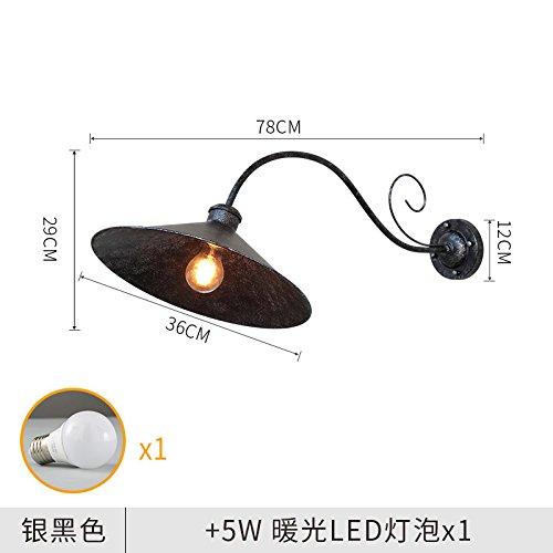 5W Led Ferro Lampada Da Parete Per Illuminazione Di Esterni Impermeabile Cortile Esterno Lampada Da Parete A Luce Calda E 78X29X36Cm, argentoo E Nero