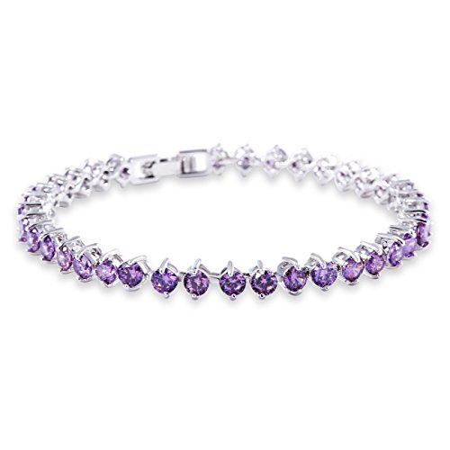 Purple Bracelets Swarovski (GULICX Women's White Gold Plated Purple Amethyst Color Cubic Zirconia Roman Tennis Bracelet)