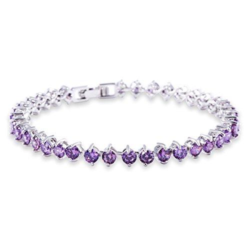 Bracelets Swarovski Purple (GULICX Women's White Gold Plated Purple Amethyst Color Cubic Zirconia Roman Tennis Bracelet)
