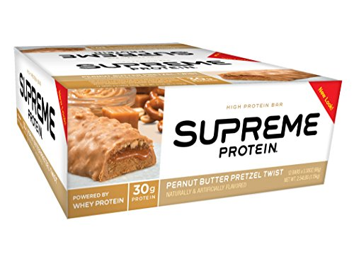 Supreme Protein Bar, Peanut Butter PretzelTwist, 30g Protein, 3.38 Ounce Bars (Pack of 12)