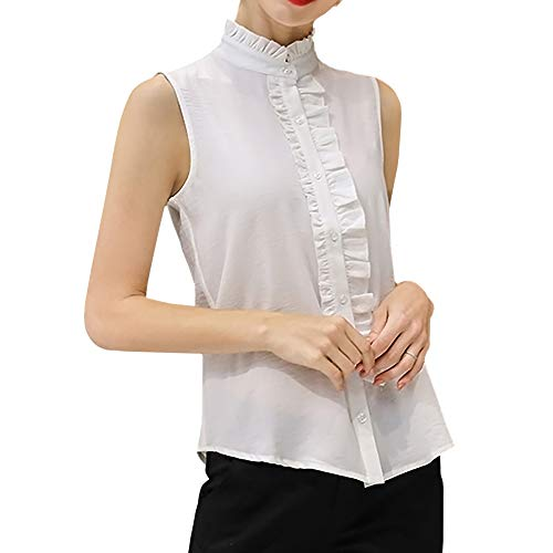 Ruffle Collar Blouse - Stand-Up Collar Vintage Victoria Ruffle Shirt Blouse Tops (M, YS07-White)