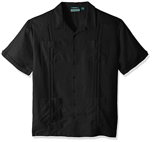 Cubavera Men's Short Sleeve 100% Linen Guayabera, Jet Black, Large ()