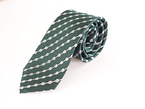 Tennis Rackets Striped 100% Silk Woven Necktie, Black Striped Tie, Blue Striped Tie, Green Striped Tie (Green)