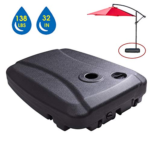 LOKATSE HOME Outdoor Patio Umbrella Base Stand Plastic Water Weighted Heavy Duty with Weels Holder, 4, Large