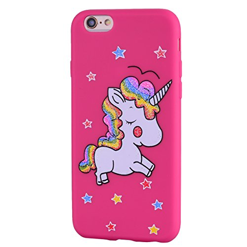 iPhone 6 Plus Case, iPhone 6S Plus Case, Ranyi [Glitter Bling Unicorn] [Slim & Thin Fit] [Full Body Protection] Cute Sparking Unicorn Silicone Case for Apple iPhone 6/6s Plus (5.5 inch), hot pink