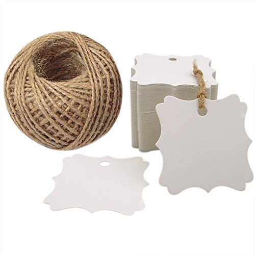 White Blank Gift Tags,Baby Shower Tags,Wedding Party Favors Tags with 100 Feet Natural Jute Twine