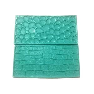 Fondant Impression Mat Set - Cobblestone & Stone Wall Design Sugarcraft Decorating Tool Gumpaste Embosser for Cup Cake Top Decoration