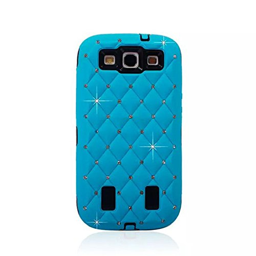 Galaxy S3 SIII Case, ACO-UINT® Bling Crystal Diamond Hybrid Dual Layer Bumper Case Cover for Samsung Galaxy S3 SIII with Two Stylus Pens / 2 Screen Protector / Microfiber Cleaning Cloth Included (sky blue)