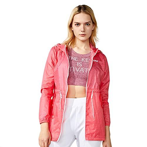 - TFO Women's Printed Anti UVA UPF 40+ Outdoor Jacket Packable Thin Windbreaker Hooded Skin Coat Rosa L