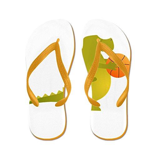 Echt Basketbal Van Mensen Basketbalspelend Dinosaurus Rubberwipschakelaars Sandals Sinaasappel