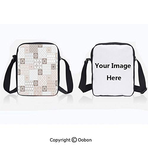 - Multipurpose Crossbody Bag For Sports Unisex Teen Oriental Motif Pastel Patchwork Pattern with Filigree Ornaments Illustration Art White Beige Grey Anti-Theft Travel Hiking Polyester Water Proof Bag