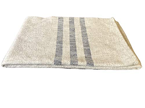 Hope Woodworking Cotton, Woven Throw Blanket, Cream with Navy Stripe, 52''x80'', Ruby Stripe Pattern, American Made by Hope Woodworking (Image #1)
