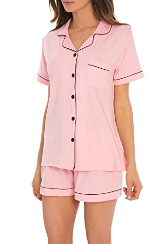 Women's Sleepwear 2 Pc Short Sleeve Button Down Notch Collar Shorts PJ Set (Pink, M) (Pink Womens Pajamas Sets)