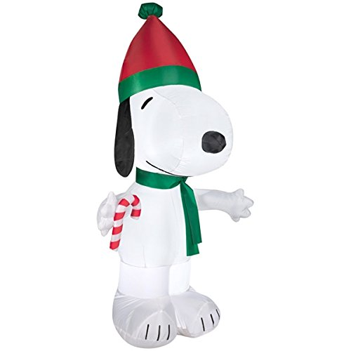 christmas lighted inflatable snoopy in winter wear airblown inflatable 5ft snoopy with candy cane and santa hat