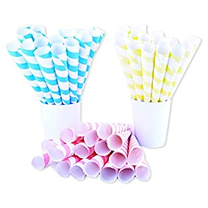 Fairy Cones Premium Multicolor Cotton Candy Cones (50 pcs), Pastel Yellow Blue and Red White Striped cones, Colorful Instructions, Carnival Vintage Pastel Style, Perfect for multiple Themes & All Ages