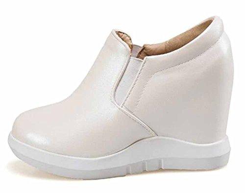 Showhow Dames Comfortabele Elastische Lage Top Hoge Sleehakken Binnen Platform Sneakers Beige