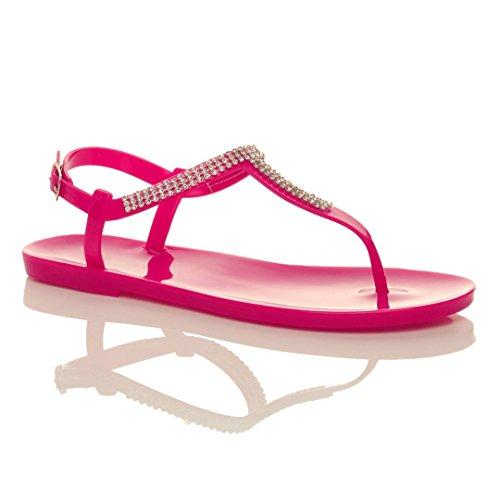 t Fucsia infradito Rosa fibbia sandali taglia strass barra ciabatte piano Donna gomma 5RxUw6nv