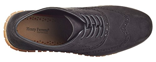 Henry Ferrera Mens Casual Paio Di Scarpe Brogue Oxford Nere