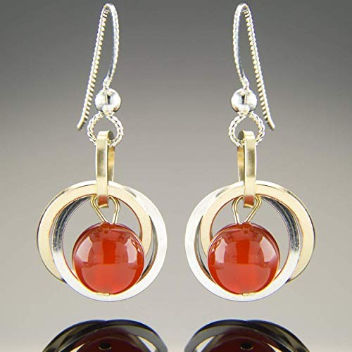 Red Orange Natural Carnelian Gemstone Small Dangle Earrings in Sterling Silver and 14K Gold Fill