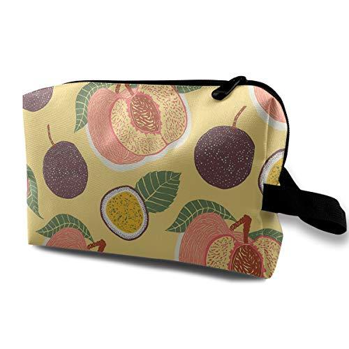(Watercolor Fruit Cosmetic Bags Makeup Organizer Bag Pouch Zipper Purse Handbag Clutch Bag)
