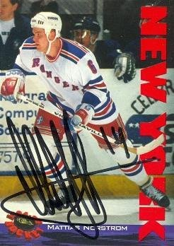 b80392195 Mattias Norstrom autographed Hockey Card (New York Rangers) 1994 Classic   96 - Autographed